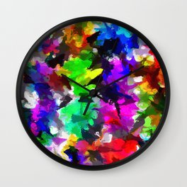 psychedelic splash painting abstract texture in pink blue green yellow red black Wall Clock