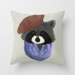 Hip Raccoon Throw Pillow