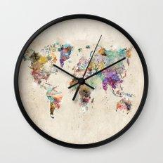world map rustic Wall Clock