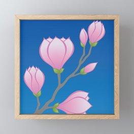 Purple Magnolia Flowers Framed Mini Art Print