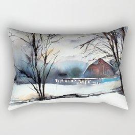 Winter Farm Rectangular Pillow