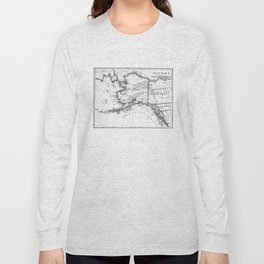 Vintage Map of Alaska (1883) BW Long Sleeve T-shirt