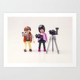 Two photographers. Playmobil Art Print