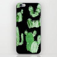 cactus iPhone & iPod Skins featuring Cactus Beard Dude by David Penela