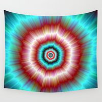 doughnut Wall Tapestries featuring Red and Blue Exploding Doughnut by Objowl