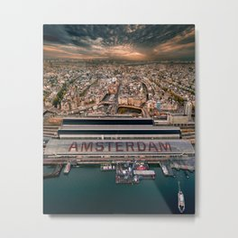 Amsterdam Station from Above Metal Print