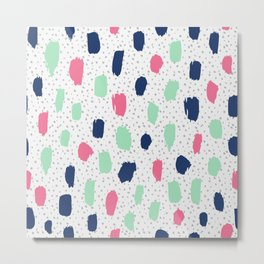 Pink blue brush strokes pattern Metal Print