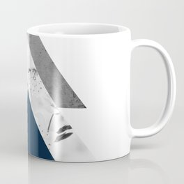 Blue grey monochrome blossom arrows Coffee Mug