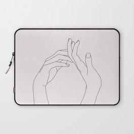 Hands line drawing illustration - Abi Natural Laptop Sleeve