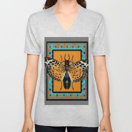 CONTEMPORARY  BUTTERFLY GREY STAG-HORNED BEETLES Unisex V-Neck