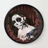 dia de los muertos Wall Clocks featuring Dia de los Muertos by Kretly