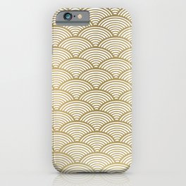 Japan Print: Seigaiha Wave, Japanese Motif, Blue Seas and Waves in Gold,  iPhone Case