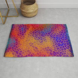 Volumetric texture of pieces of orange glass with a Iridescent mysterious mosaic. Rug