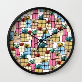 Presents Pattern Wall Clock
