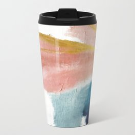 Exhale: a pretty, minimal, acrylic piece in pinks, blues, and gold Metal Travel Mug