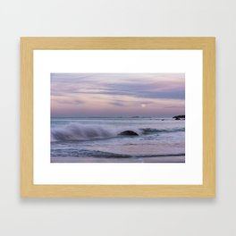 Pastel Ocean Moonrise Framed Art Print
