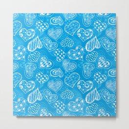 Doodle hearts pattern in blue Metal Print
