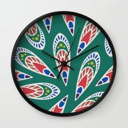 Green African Pattern Wall Clock
