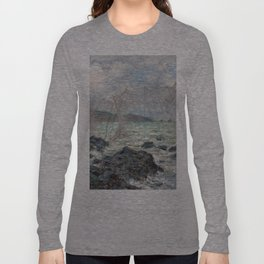 1882-Claude Monet-Fishing nets at Pourville-86 x 106 Long Sleeve T-shirt