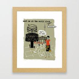 Meet me at the World Clock Framed Art Print
