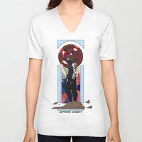 winter soldier V-neck T-shirts featuring Art Nouveau Winter Soldier by Totally Bucky