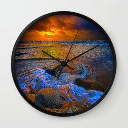 Dusk On The Rocks Wall Clock
