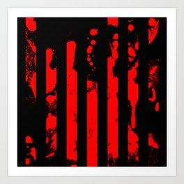 Blood Bars - Geometric, black and red stripes pattern, blood red, paint splat artwork Art Print