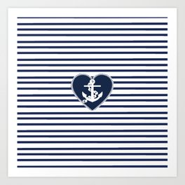 Modern navy blue white heart anchor nautical stripes Art Print