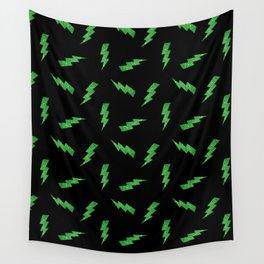 Green Glitter Lightning Bolts in Black Wall Tapestry