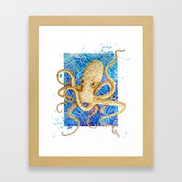 La pieuvre - Contemporary Watercolor Octopus Painting Framed Art Print