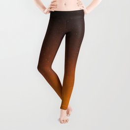 Orange Sepia Vintage Night Star Sky Minimal Landscape Leggings
