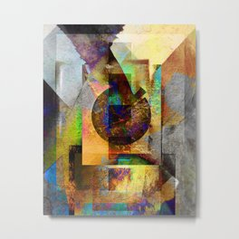 Abstract Geometric Industrial Grunge Art Metal Print