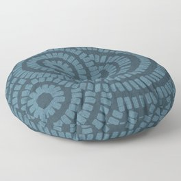 Petrol blue-green brushed circles on textured cloth - abstract geometric pattern Floor Pillow
