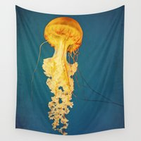 jellyfish Wall Tapestries featuring Jellyfish by Retro Love Photography