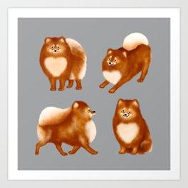 Pomeranian Pattern (Gray Background) Art Print