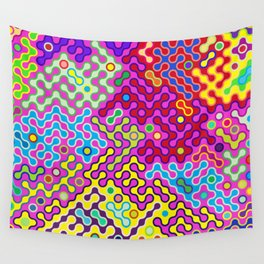 Abstract Psychedelic Pop Art Truchet Tile Pattern Wall Tapestry