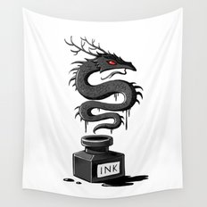 Ink Dragon Wall Tapestry