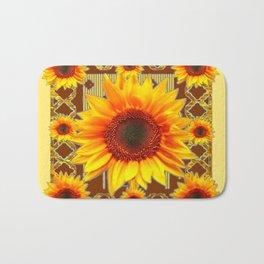 Brown & Yellow Sunflower Grey Art Bath Mat