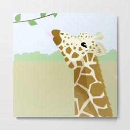 Chin Up Giraffe Metal Print