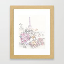 Paris Rooftop Picnic with French Bulldog and Black Cat Framed Art Print