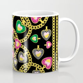 Fashion Pattern with Golden Chains and Jewelry Coffee Mug