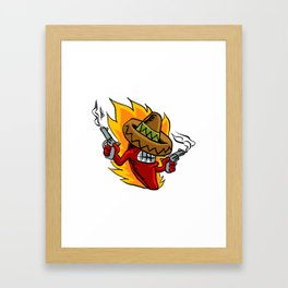 Mexican red chili pepper with guns. Framed Art Print