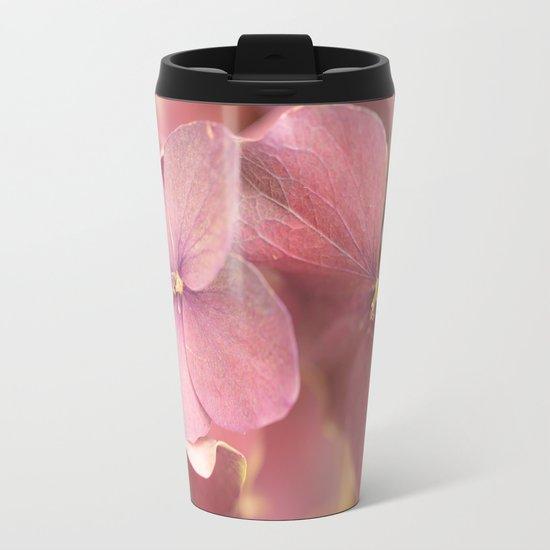 Hortensia Flower Metal Travel Mug