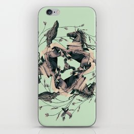 Horses and birds iPhone Skin