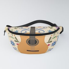 Peace Love And Music Folk Guitar Badge Fanny Pack