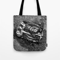 coca cola Tote Bags featuring 'Coca-cola' by Dwayne Brown