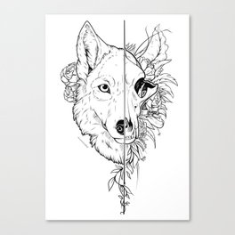 Wolf and Flowers Canvas Print
