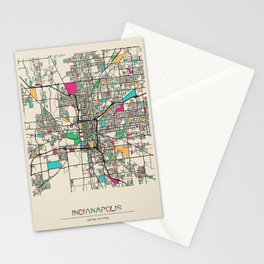 Colorful City Maps: Indianapolis, Indiana Stationery Cards