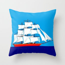 Clipper Ship in Sunny Sky Throw Pillow