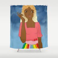 brazil Shower Curtains featuring Brazil Girl by The Perkins Gallery